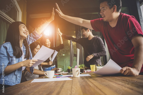 Valokuva  asian younger freelance teamwork  job successfull happiness emotion