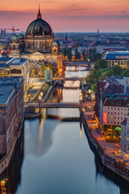 The Spree River In Berlin With The Cathedral At Sunset