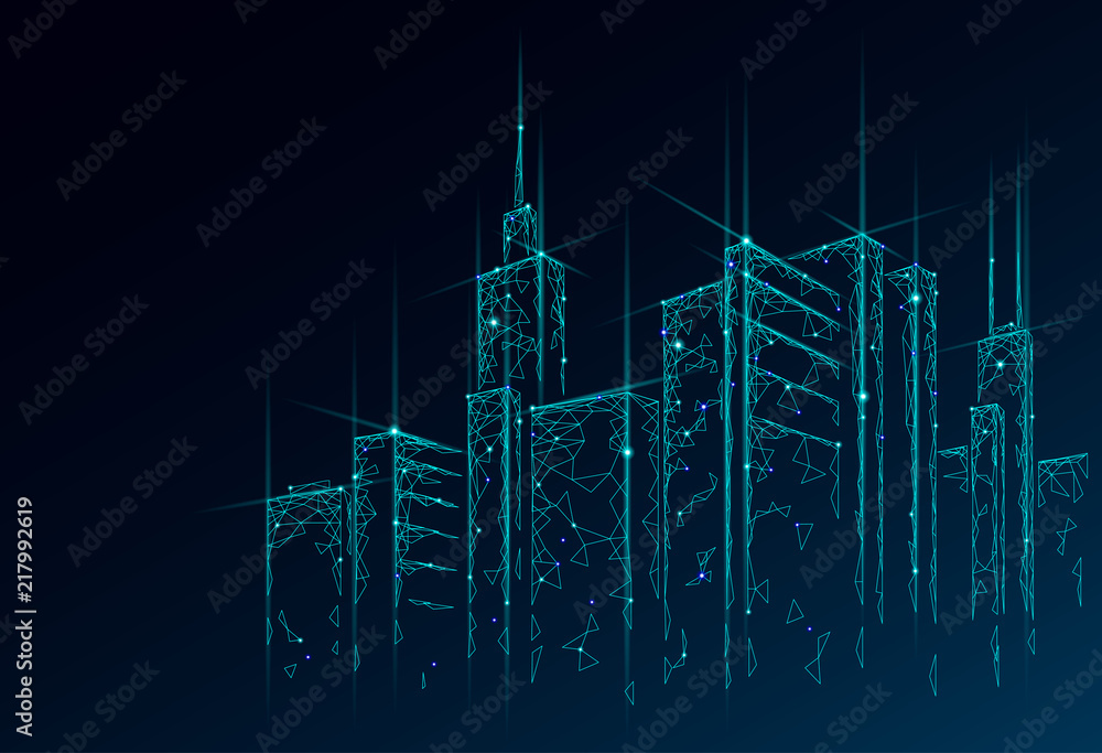 Fototapeta Low poly smart city 3D wire mesh. Intelligent building automation system business concept. Web online computer networking. Architecture urban cityscape technology sketch banner vector illustration