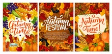 Fall Fest Posters With Harvest And Autumn Leaves