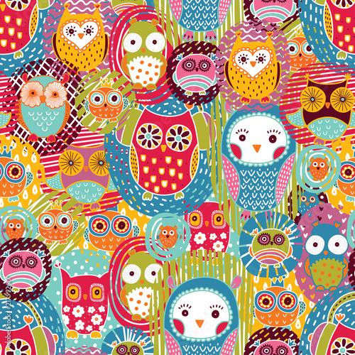 Poster Hibou Cute owls. Seamless pattern.