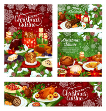 Christmas Dinner Banner Of Table With Xmas Food