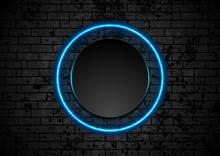 Blue Neon Circle On Grunge Bri...