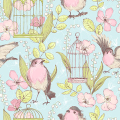 FototapetaRomantic seamless patterns with wild roses, robin birds, cages,