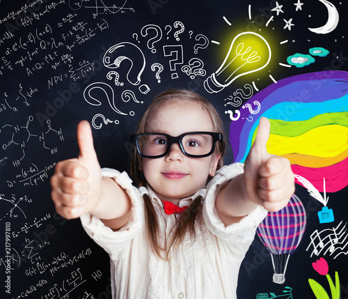 Ideas, discovery and creativity education concept with little genius girl on sch Wallpaper Mural