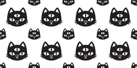 cat Seamless pattern vector Halloween kitten three eye calico cartoon tile background scarf isolated repeat wallpaper black