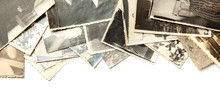 Stack Old Photos Isolated On White Background. Postcard Rumpled And Dirty Vintage