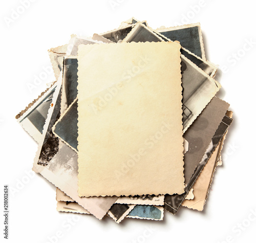 Obraz Stack old photos isolated on white background. Mock-up blank paper - fototapety do salonu