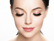 canvas print picture - Lashes woman face eyes closeup