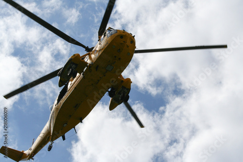 Tuinposter Helicopter Sea King Search and Rescue Helicopter From Below