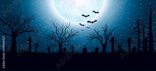 Fotografía Halloween background with graveyard
