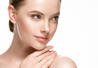 Woman beautifl face closeup with healthy skin and beauty lips and eyes