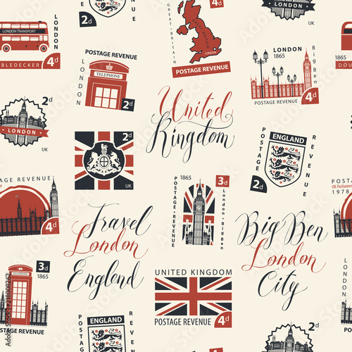 Vector Seamless Pattern With Postage Stamps And Handwritten
