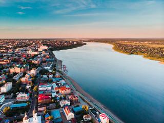 Tomsk cityscape Siberia, Russia. Tom river. Drone aerial top view.