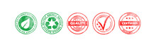 Red And Green Round Stamps Wit...