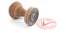 Wooden Round Rubber Stamper And Stamp With Text Approved Isolated On White Background. 3d Illustration