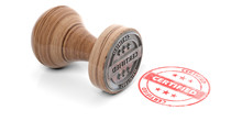 Wooden Round Rubber Stamper And Stamp With Text Certified Isolated On White Background. 3d Illustration