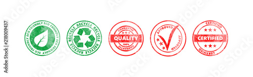 Obraz Red and green round stamps with text isolated on white background, banner - fototapety do salonu