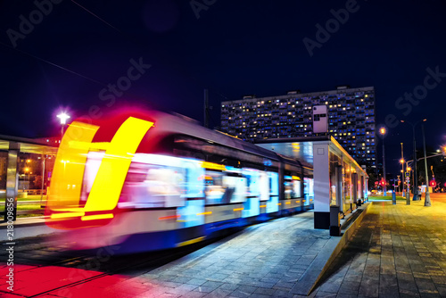 Tram at a stop