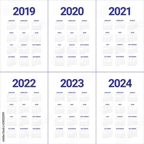 Fotografia  Year 2019 2020 2021 2022 2023 2024 calendar vector design template