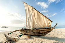 A Dhow Boat On The Beach. Sail...