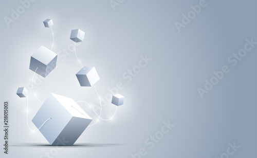Fototapety, obrazy: Abstract 3d cubes and background. A connection of big and small geometric cubes . Science and technology. Big data and Internet connection. Vector illustration.