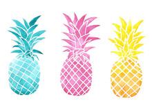 Watercolor Set Pineapples