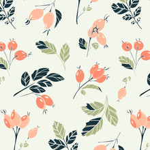 Beautiful Floral Viburnum Berries And Leaves Pattern. Watercolor Berry Pastel Orange Green Textile. Floral Summer Decoration Print.  Botanical Background