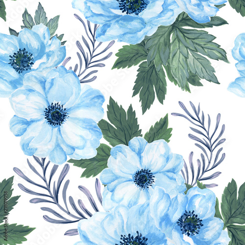 Recess Fitting Pattern Watercolor gouache anemone floral and leaves hand drawn floral illustration seamless pattern