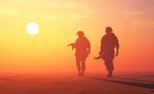 Silhouette Of A Soldier At Sunset., 3d Render