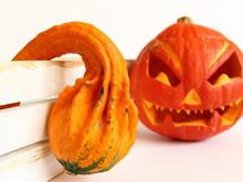 Kolorowe Dynie Ozdobne Na Halloween Z Białą, Drewnianą Skrzynką Na Jasnym Tle - Jesienna Dekoracja Do Nowoczesnego Wnętrza