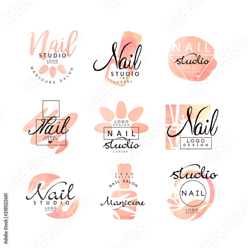 Valokuvatapetti Manicure nail studio logo design set, creative templates for nail bar, beauty sa