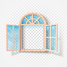 Open Window Isolated. Wooden F...