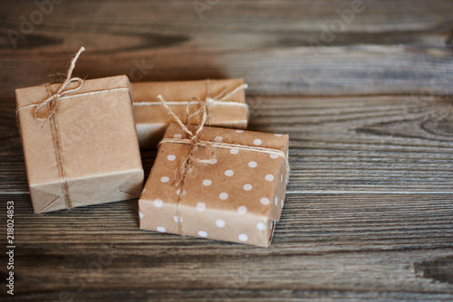 Handmade Gift Boxes Wrapped With Eco Friendly Craft Paper And Tied