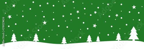 Foto auf AluDibond Grun Grüne Weihnachtskarte mit Schneeflocken und Sternen