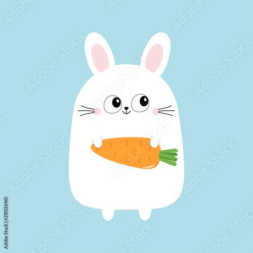 Fototapeta premium White bunny rabbit holding carrot. Funny head face. Big eyes. Cute kawaii cartoon character. Baby greeting card template. Happy Easter sign symbol. Blue background. Flat design.
