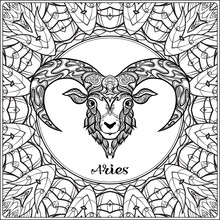 Aries, Sheep. Decorative Zodiac Sign On Pattern Background. Outline Hand Drawing. Good For Coloring Page For The Adult Coloring Book Stock Vector Illustration.