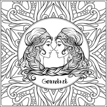 Gemini. Twins, Girls. Decorative Zodiac Sign On Pattern Background. Outline Hand Drawing. Good For Coloring Page For The Adult Coloring Book Stock Vector Illustration.
