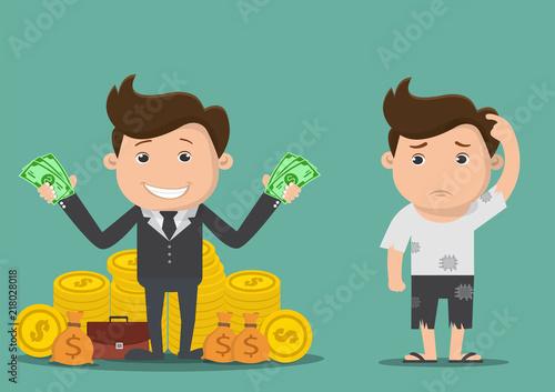 Fototapeta Poor and rich man.Vector illustration. obraz