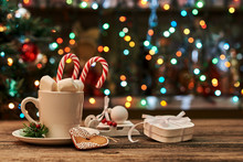 Christmas Hot Chocolate With Ornaments And Candy Cane..