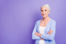Grey Haired Old Nice Beautiful Smiling Woman With Crossed Hands,