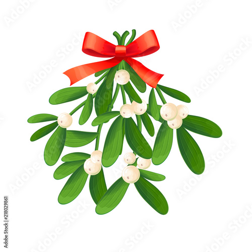 Obraz na plátne Branch of mistletoe with berries and red bow