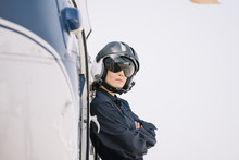 Pilot Girl Poses With Her Heli...