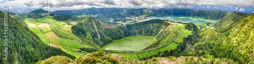 Pico Da Cruz.Panoramic View Of Crater Sete Cidades From Pico Da Cruz At