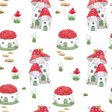 Watercolor Mushroom House Vector Pattern