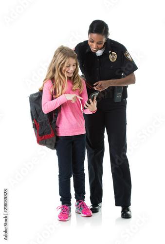 Obraz na płótnie Police: Policewoman And Child Discuss Online Safety