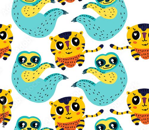 Cute animals seamless pattern Fototapet