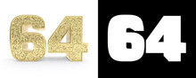 Golden Number Sixty Four (number 64) On White Background With Drop Shadow And Alpha Channel. 3D Illustration