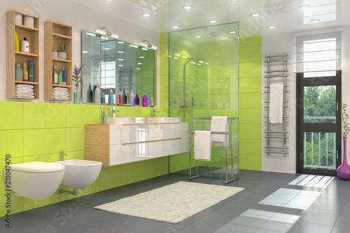 Modernes Badezimmer In Weiss Und Grun Mit Dusche Wc Bidet Zwei