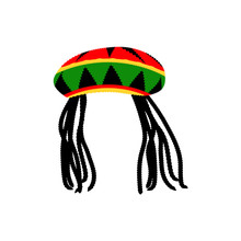 Jamaican Rasta Hat With Dreadlocks. Reggae Style Avatar. Isolated On White Background. Vector.